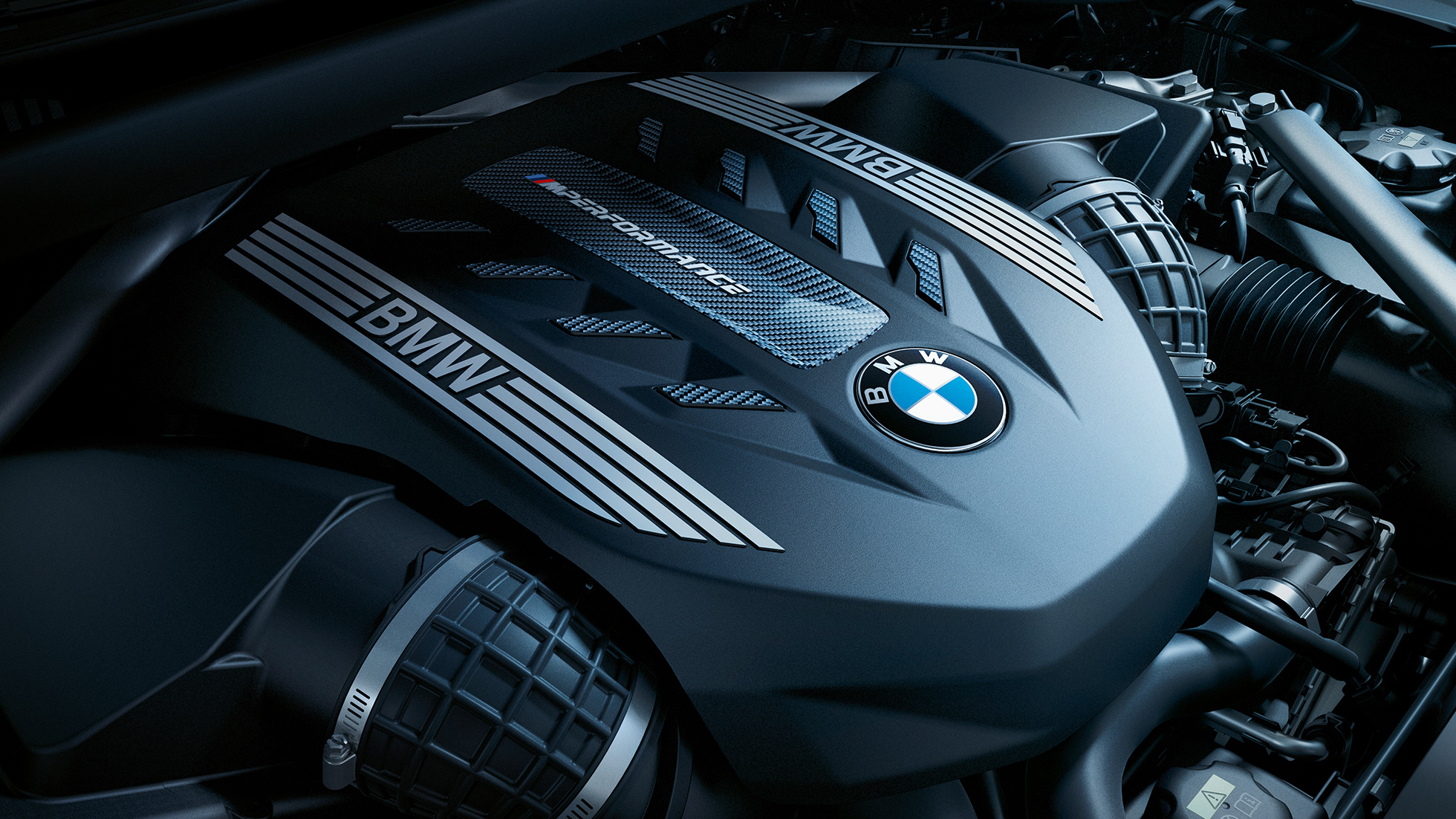 Close-up view of the BMW X6 engine.