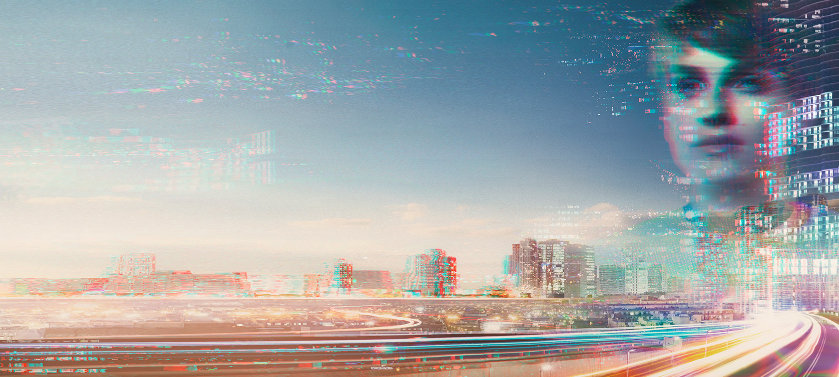 Futuristic image of a pixelated city and a pixelated face of a woman that is staring in the distance.
